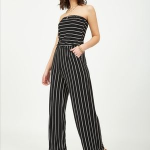 suzy shier striped tube gaucho jumpsuit